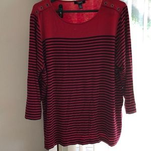 Red with navy stripes boatneck with buttons top